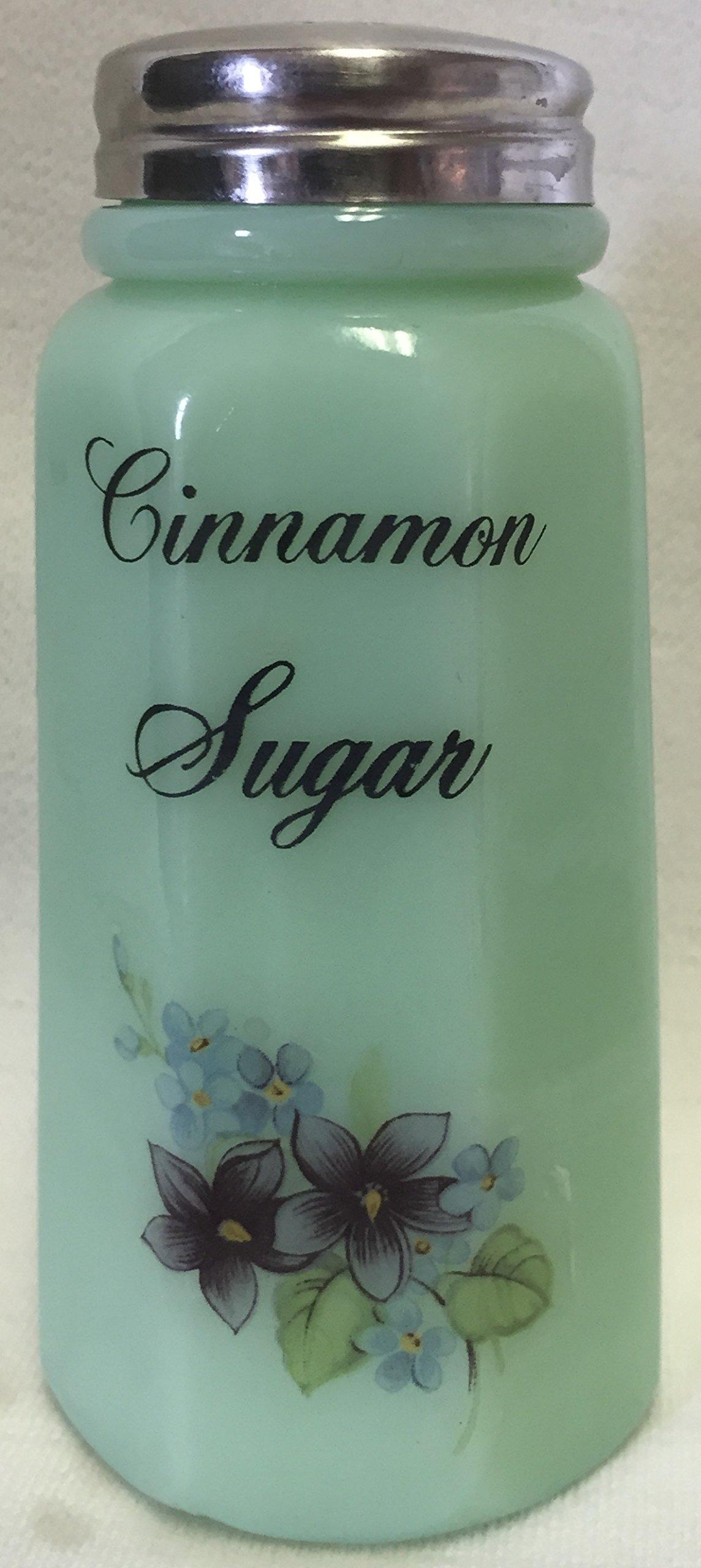 Sugar Shaker - Floral - Paneled - Mosser Glass - American Made (Cinnamon Sugar, Jade) by Rosso Glass