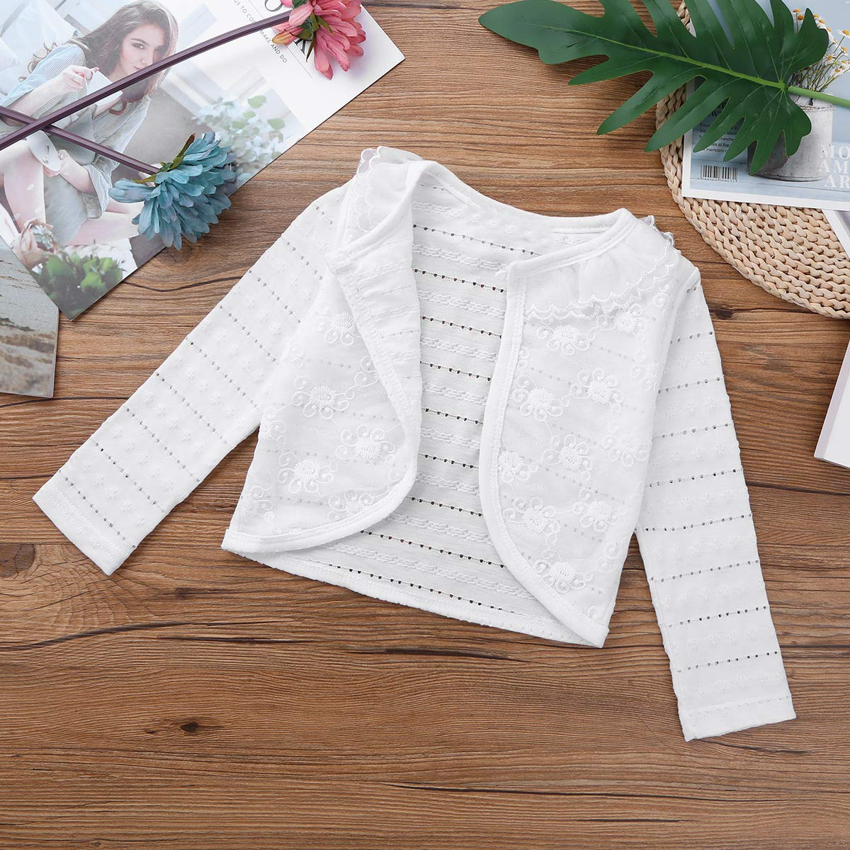 Alvivi Kid Baby Girls Long Sleeves Lace Bolero Shrug Cardigan Flower Dress Cropped Sweater Cover Up Jacket
