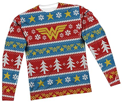 ugly christmas sweater wonder woman all over long sleeve t shirt