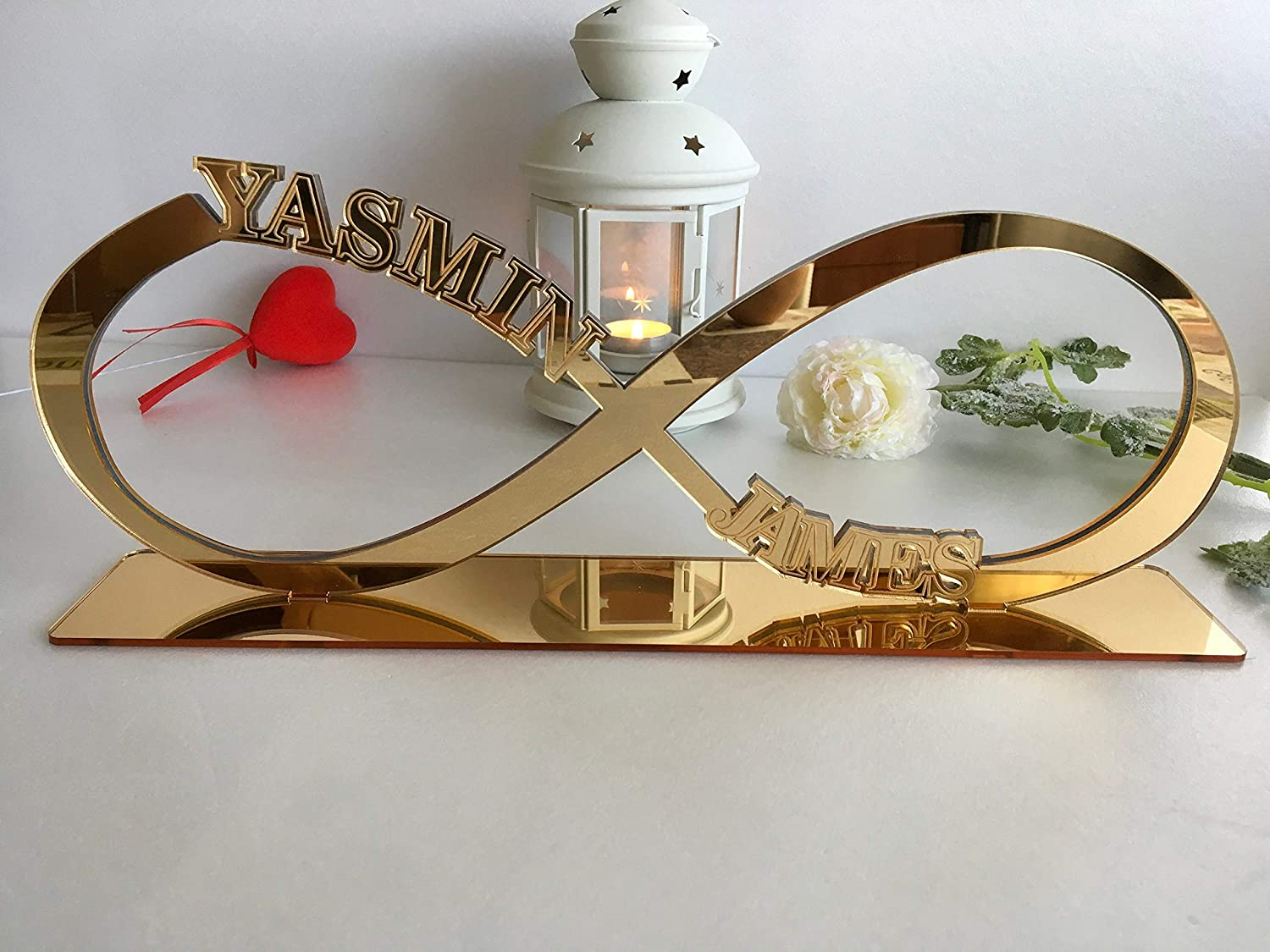 Infinity Table Sign with First Names Infinity Symbol Personalised Wedding Name Freestanding Centerpiece Decorations Gold Event Reception Decor Custom Couples Names Sweetheart Love Anniversary Gift ∞