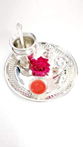 Pooja Thali Set Indian Traditional Pooja Thali Occasional Gift - Puja Thali for Diwali Aarti Wedding Return Gift with Decorative Gift - Size: 8.5 inch (7 pc Set) (Silver)