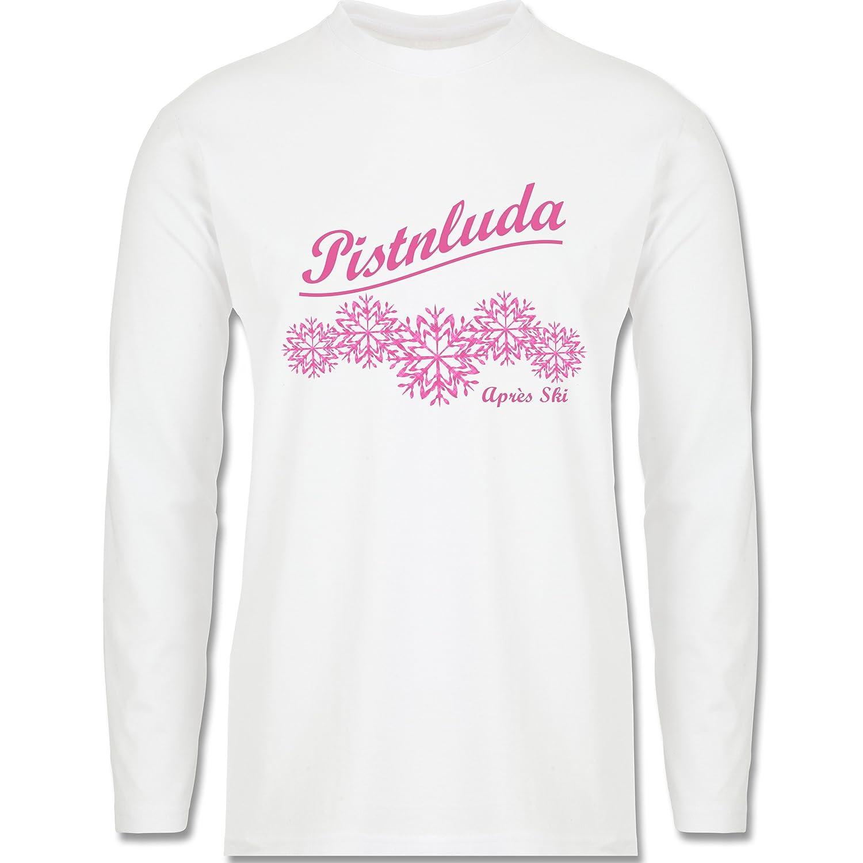 Après Ski - Pistnluda - Schneeflocke pink - Longsleeve / langärmeliges T-Shirt für Herren