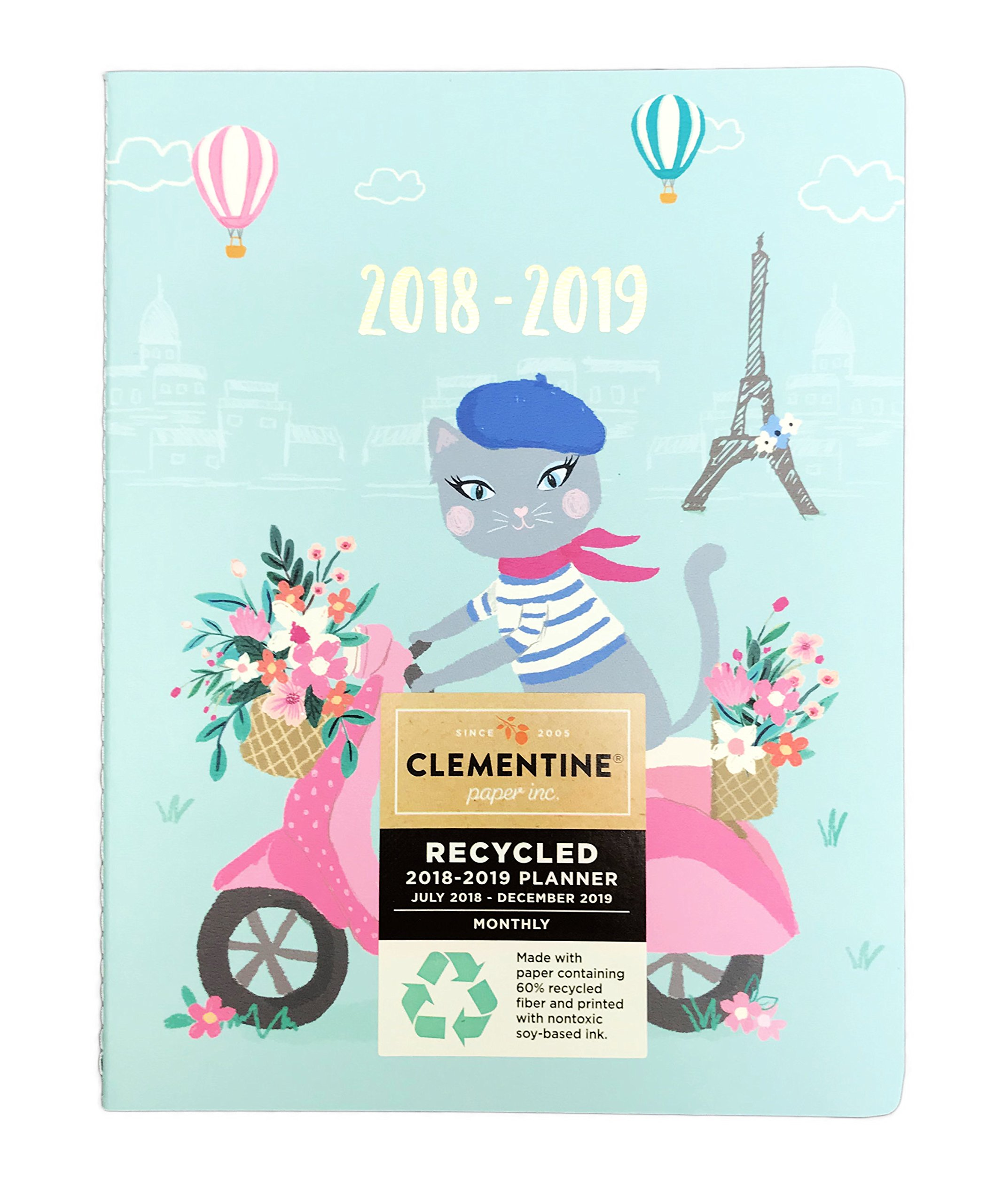 Cute Grey Cat Riding Pink Scooter in Paris France Soft Cover Novelty July 2018- December 2019 Monthly Planner