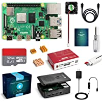 LABISTS Raspberry Pi 4 Starter Kit with 1GB RAM Board, 32GB Micro SD Card Noobs, 3A Power Supply with On/Off Switch, Cooling Fan and 3 Heatsinks, Premium Black Case and Other Necessary Accessories