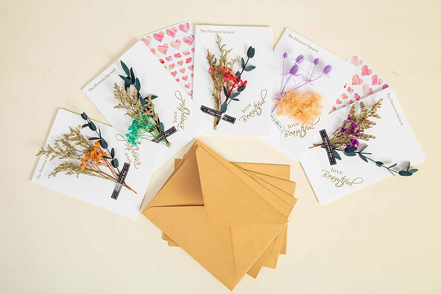Handmade Dried Flowers Eternal Flower Greeting Card All Occasion Assorted Floral Blank Note Cards Holiday Card With Envelopes And Seal Stickers Wedding Party Invitations Personalized Greetings (5 pcs)
