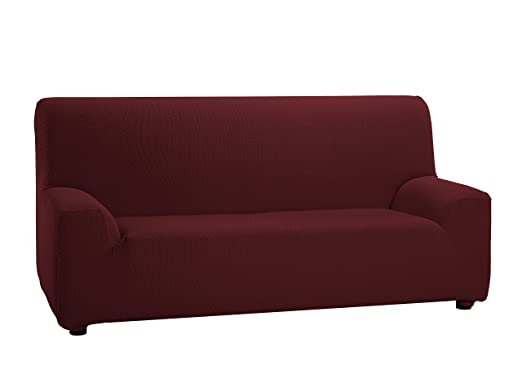 Martina Home Tunez - Funda elástica para sofá, Burdeos, 3 Plazas (180-240 cm)