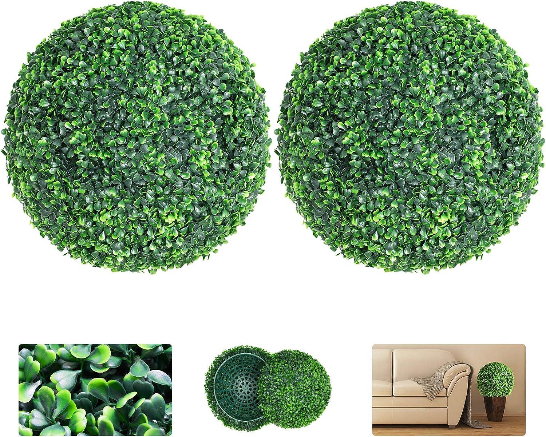 VegasDoggy 2 PCS 15.7 Inch Artificial Boxwood Balls Topiary - UV Protected 4 Layers Faux Plants Decorative Balls for Indoor, Outdoor, Garden, Wedding, Balcony, Backyard and Home Decor