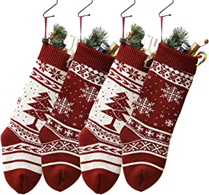 """Knit Christmas Stockings, 4 Pack 18"""" Large Size Snowflake and Tree Holiday Stocking Christmas Decorations Party Accessory, Personalized Gift for Family and Friends"""