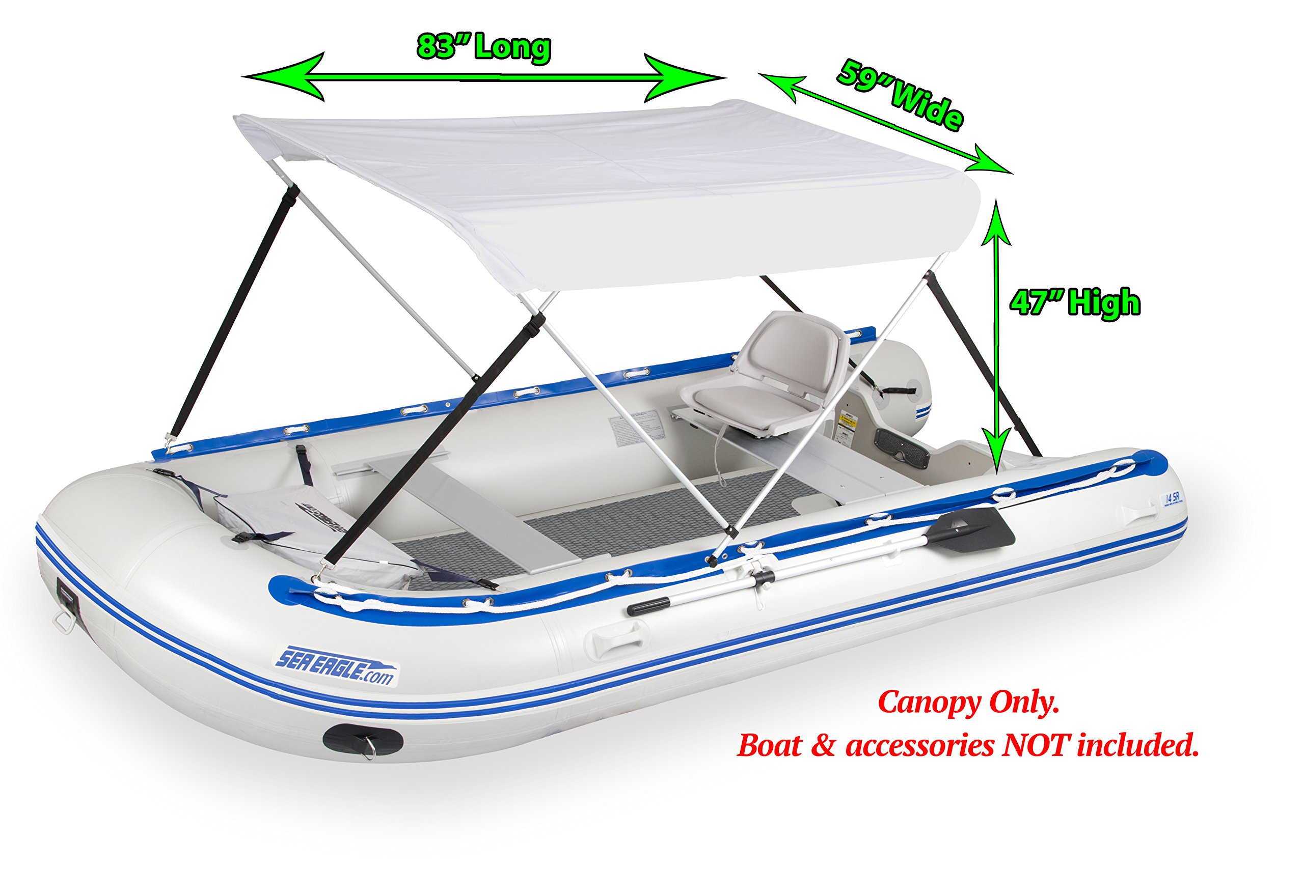 Wide Bimini Top for Inflatable Boats (Mounting Hardware Included)