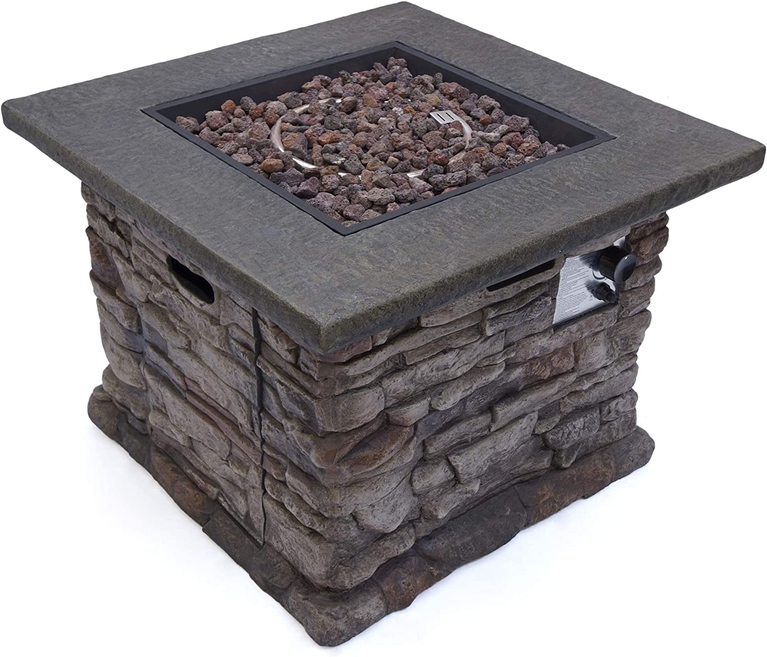 Christopher Knight Home Stone Outdoor Natural Stone Finished Square Fire Pit – 40,000 BTU