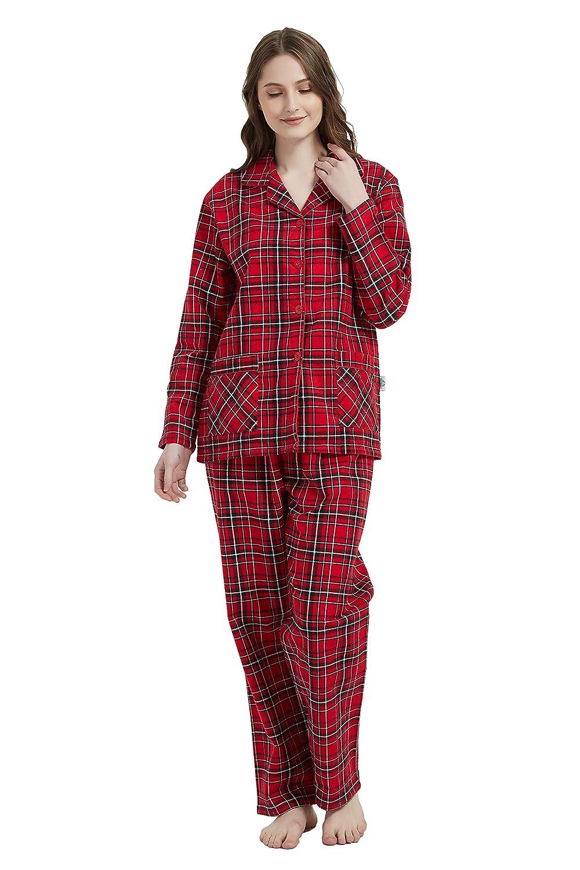 GLOBAL Women Pyjamas Set 2-Piece 100/% Cotton Cosy Flannel Pj Set of Loungewear Button Front Top Pants