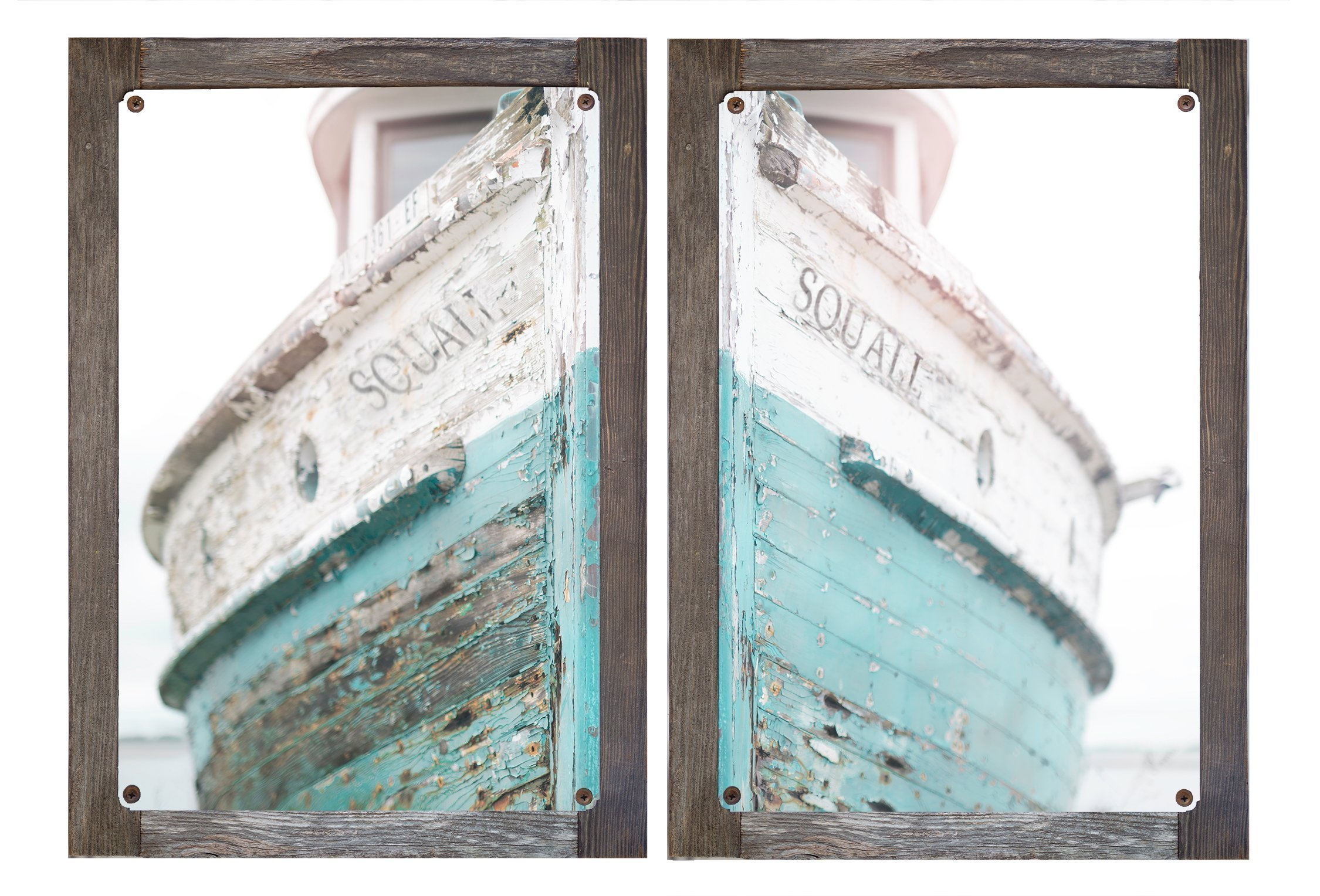 Barnwood Framed Metal Print Diptych- Nautical Ship, Vintage Beachy, Beach Print, Cottage Decor, Sea, Rustic Wall Art, Teal Fixer Upper, Bathroom, 16'' w x 24'' Print by Photo Artistry