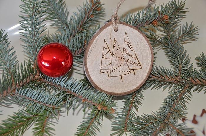 Amazon.com: three trees christmas ornament wood branch slice hung