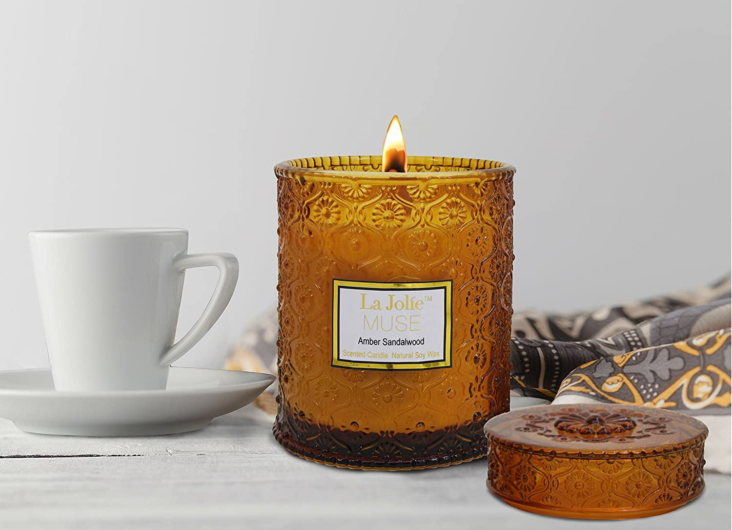 Amazon.com: Wood Wick Scented Candles 21Oz Amber Sandalwood Soy Wax Candle  Large Glass Jar, 90 Hours Burning Gift for Her: Home & Kitchen