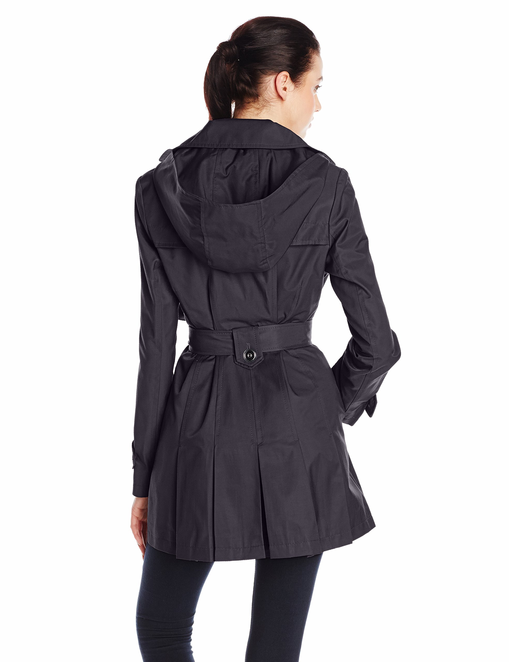 Via Spiga Women's Single-Breasted Belted Trench Coat with Hood, Navy, Medium by Via Spiga (Image #2)