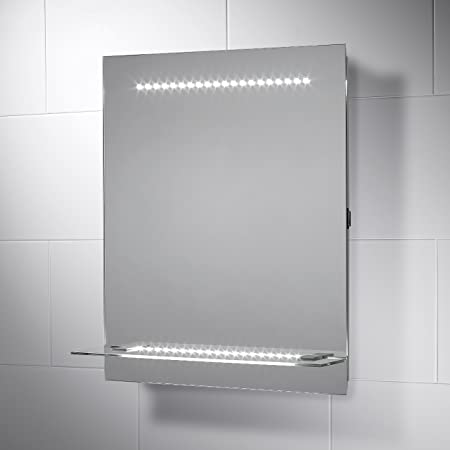 reno led illuminated bathroom mirror with lights 500mm w x 600mm h
