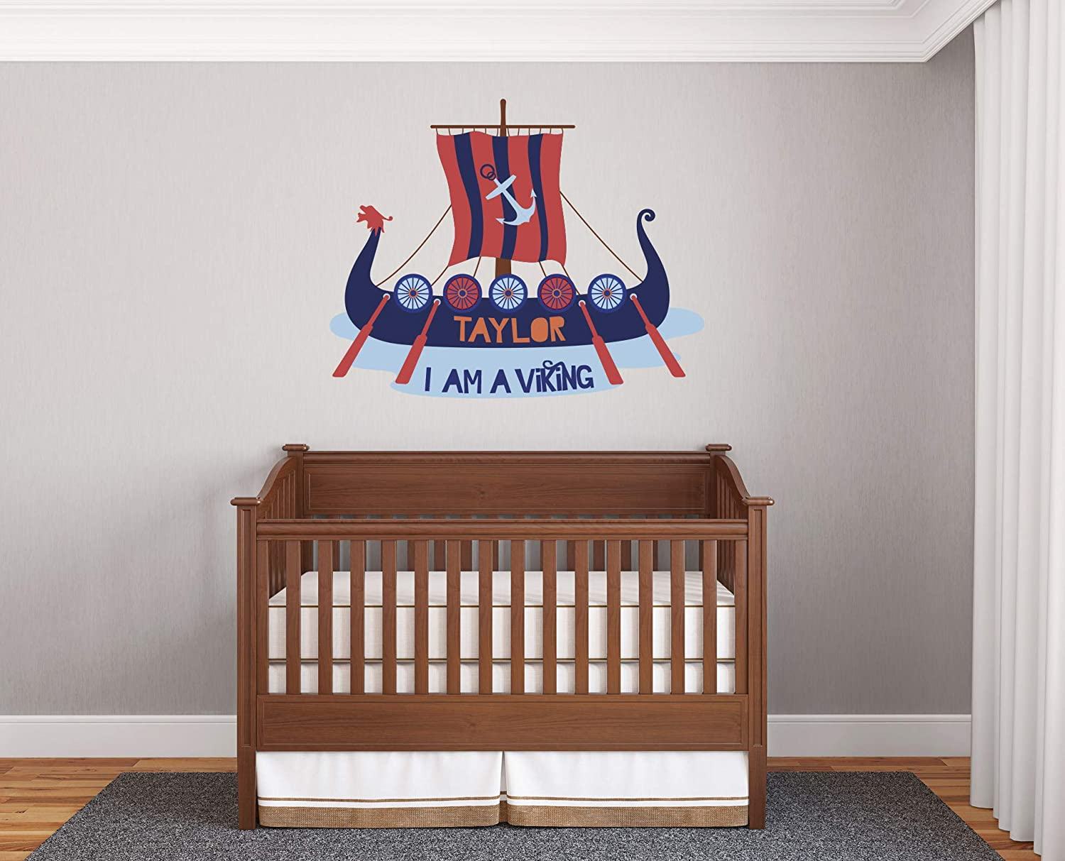Custom Viking Ship Wall Decal for Viking Themed Nursery