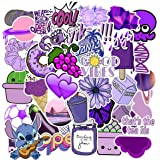Cute Purple Stickers for Water Bottles, 51 Pcs Hydro Flask Stickers Trendy Laptop Stickers Guitar Computer iPhone iPad Car Skateboard Stickers Decals for Teen Girls Kids