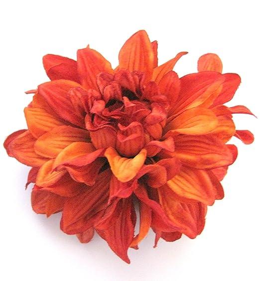 Amazon 45 rust orange dahlia silk flower brooch pin clothing 45quot rust orange dahlia silk flower brooch pin mightylinksfo