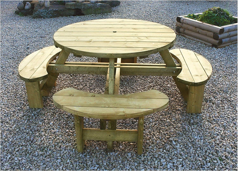 Inspiring Furniture Ltd Tanalised Round 8 Seater Picnic Bench Amazon Co Uk Garden Outdoors