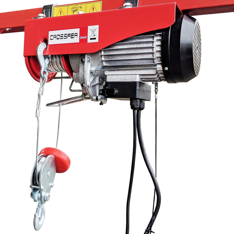 CROSSFER PA250A Elektrischer Seilhebezug 230Volt fü r 125kg/250kg Last Seilwinde mit Umlenkrolle als Flaschenzug Seilzug 12 Meter Hubhö he Hebezug Lastkran Crossfer GmbH