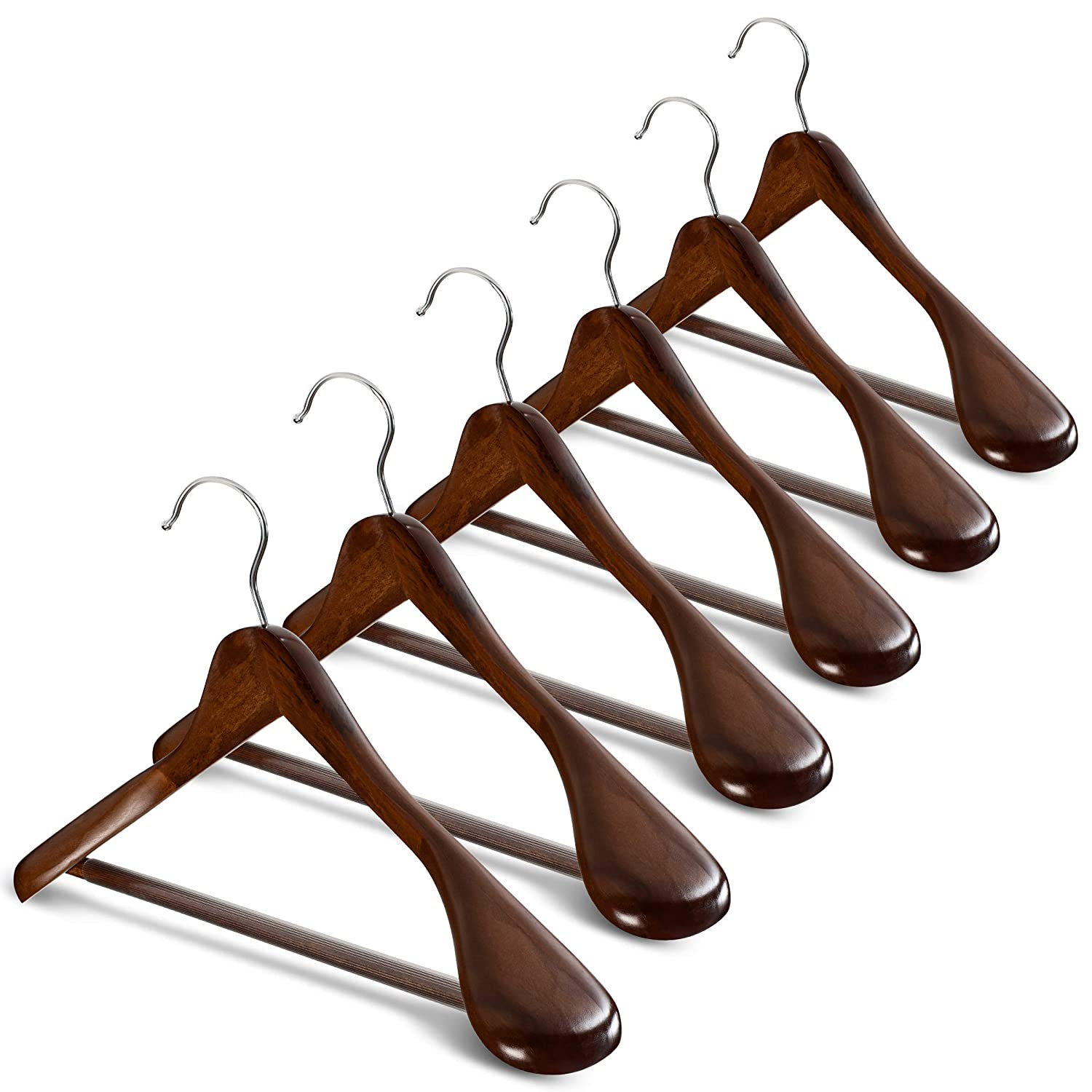High Grade Wide Shoulder Wooden Hangers 6 Pack With Non Slip Pants Bar Smooth Finish Solid Wood Suit Hanger Coat Hanger Holds Upto 20lbs 360