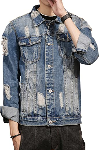 LONGBIDA Mens Slim Fit Distressed Ripped Denim Trucker Jacket