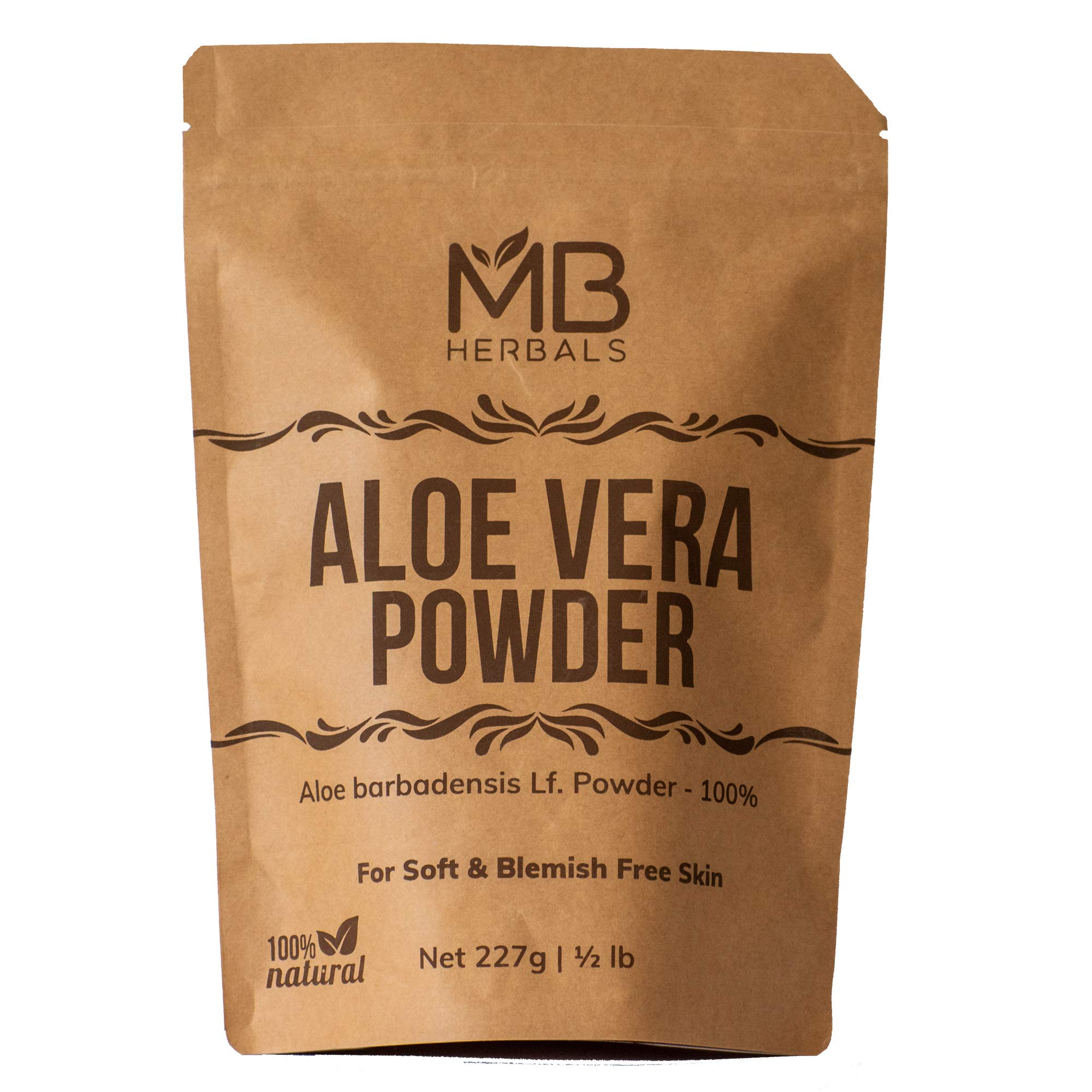 MB Herbals Aloe Vera Powder 454g   1 LB Large Pack   100% Pure & Organically Cultivated Aloevera Powder   Natural Skin Moisturizer   Controls Blemish Acne Pimples & Fine Lines   External Use Only