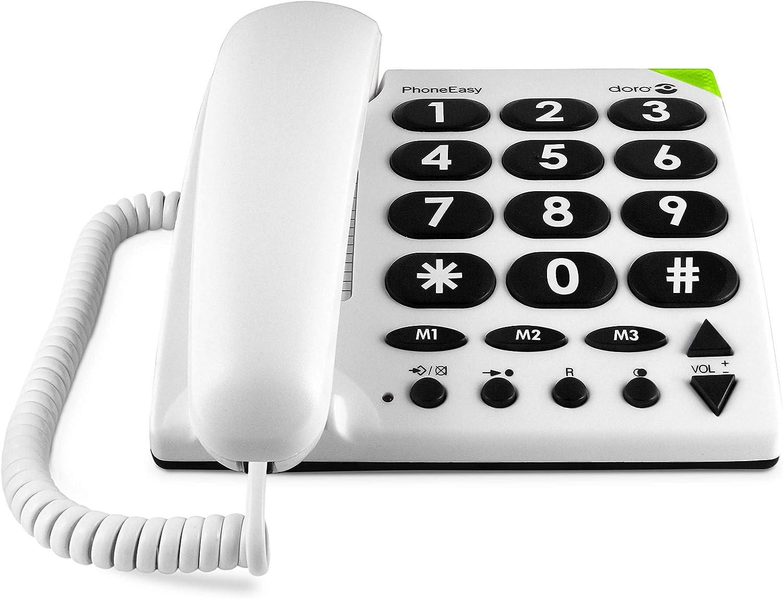 Doro Phone Easy - Teléfono Fijo Digital, Blanco: Amazon.es: Electrónica