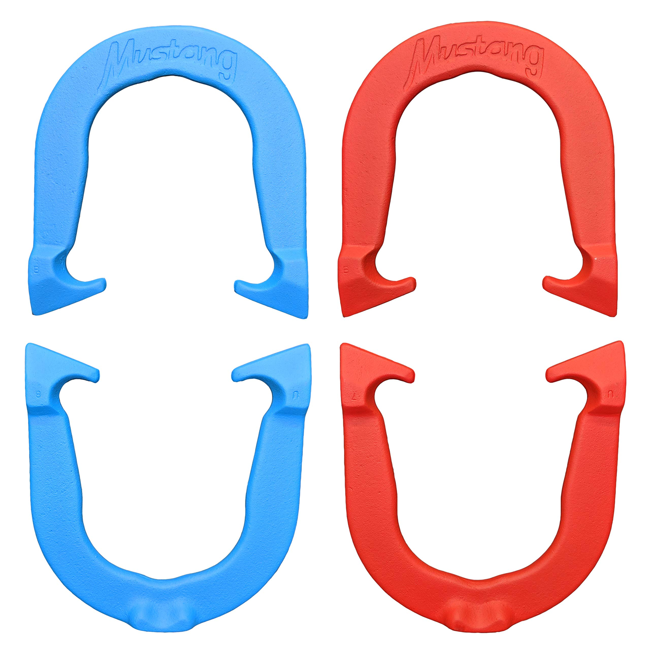 Mustang Professional Pitching Horseshoes Set- Made in USA (Red & Blue- Two Pair Set (4 Shoes)) by Thoroughbred Horseshoes