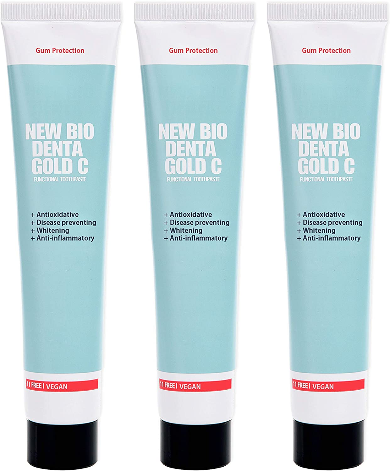 New Bio Denta Gold C Sensitive Toothpaste with Myrrh, Vitamin B and C, Fluoride Free and Vegan Friendly, Natural Whitening Support to Fight Gum Disease and Bad Breath