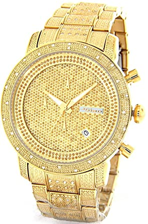 b6d148d8ead Image Unavailable. Image not available for. Color  JOJINO 1.05ct Real  Diamond Watch Mens Deluxe Gold Tone ...