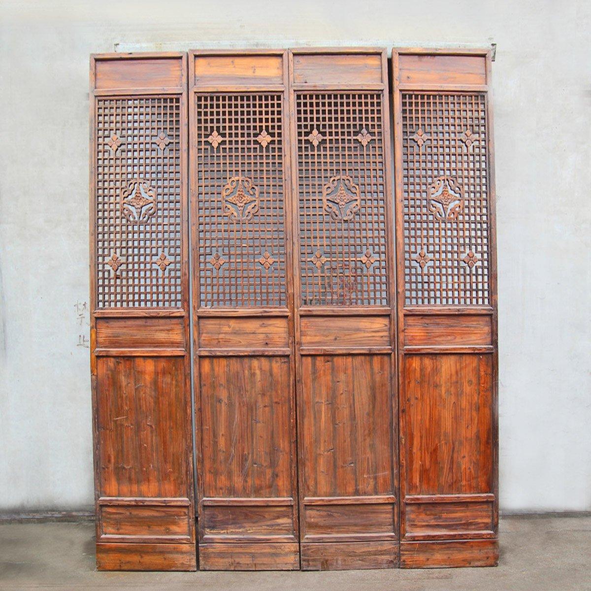 Carved Wood Lattice Screen