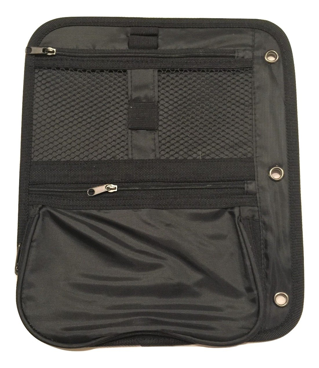 Double-sided Storage Pouch for Binders ~ 2 Mesh Pockets, 1 Expandable Pocket (Black; 11.25'' x 9.5'')