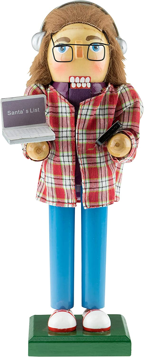 "Clever Creations Software Developer Nutcracker | Developer Nutcracker Comes with Laptop and Cellphone | Wearing Plaid Shirt, Glasses and Headphones | Developer Nutcracker Stands at 10"" Tall"