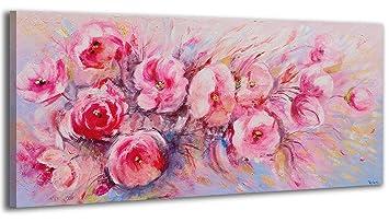Ys Art Tableau Peinture Acrylique Fleurs D été Peint à La Main 115x50cm Tableau Art Moderne Unique Rose