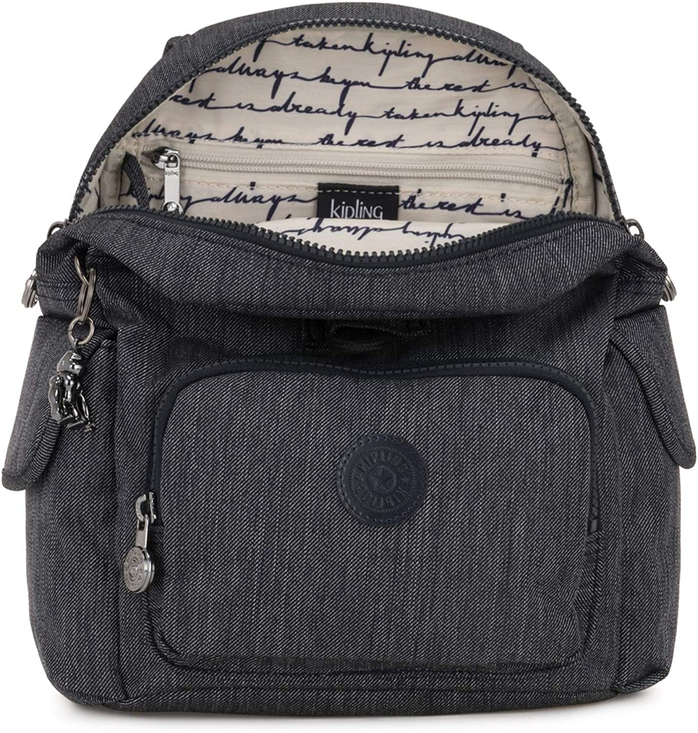 Kipling City Pack Mini, Sac à dos Femme, 27x29x14 Centimeters (B x H x T) Bleu (Active Denim)
