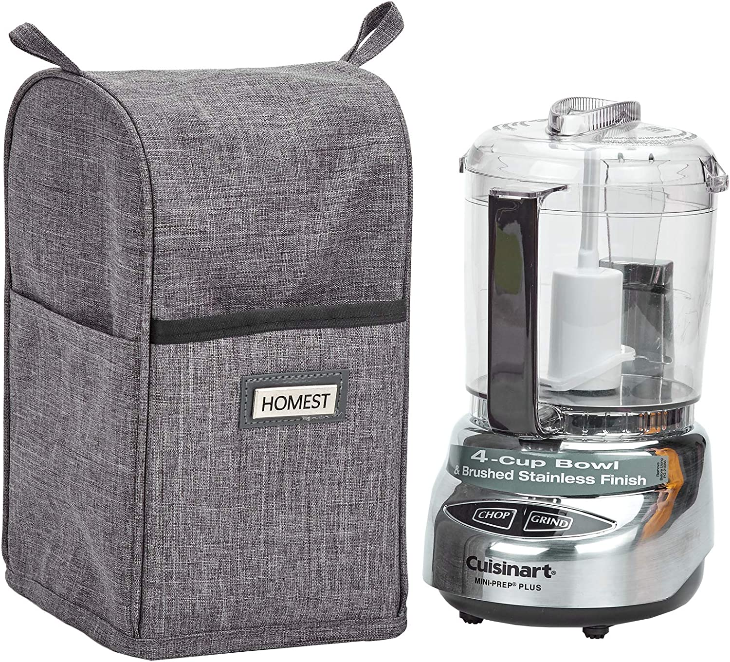 HOMEST Food Processor Dust Cover with Accessory Pockets Compatible with Cuisinart Mini 3-4 Cup, Grey (Dust Cover Only, NOT INCLUDE MACHINE)