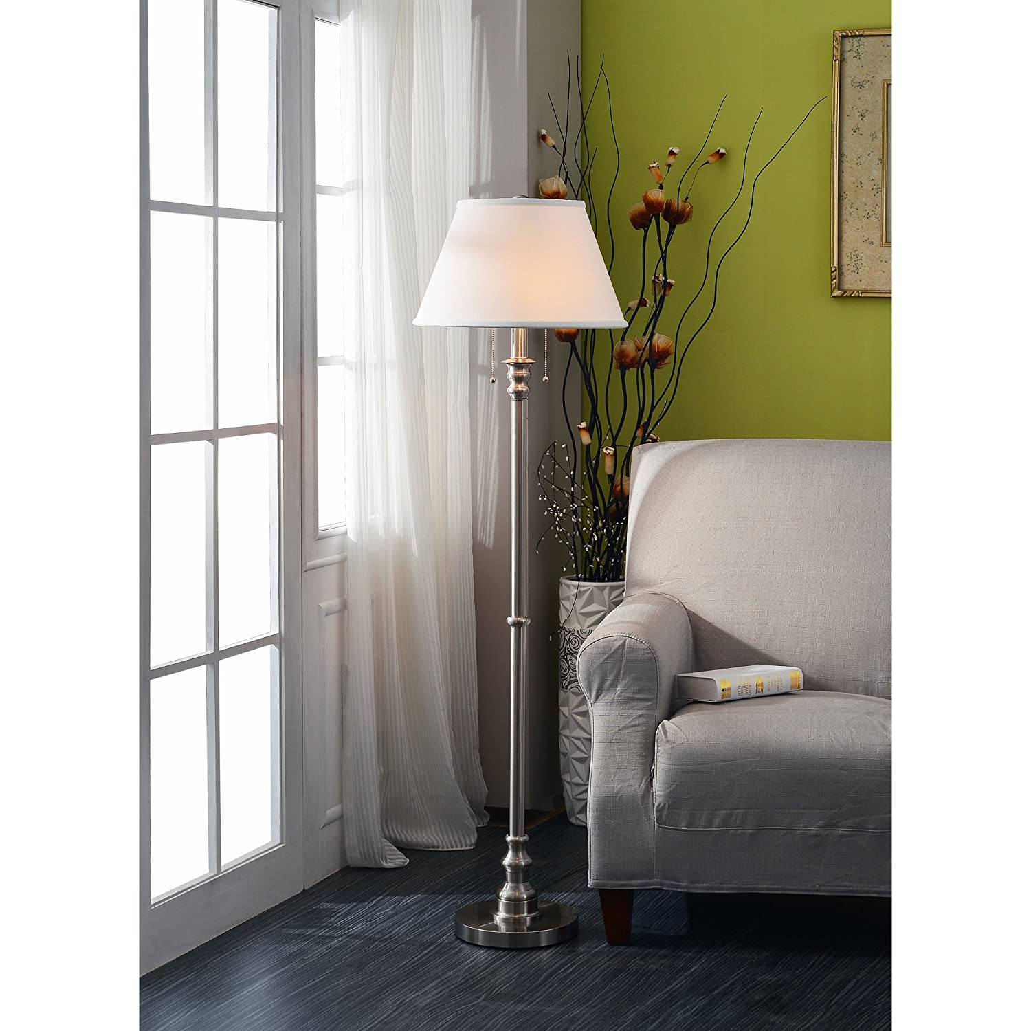 Amazon white floor lamp nursery - Kenroy Home 30438bs Spyglass Floor Lamp Brushed Steel Tools Home Amazon Com