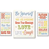 The Kids Room by Stupell Be Yourself; Be Kind; Playroom Rules 3-Pcs. Multi-Size Wall Plaque Set, n/a x n/a x n/a, Proudly Made in USA