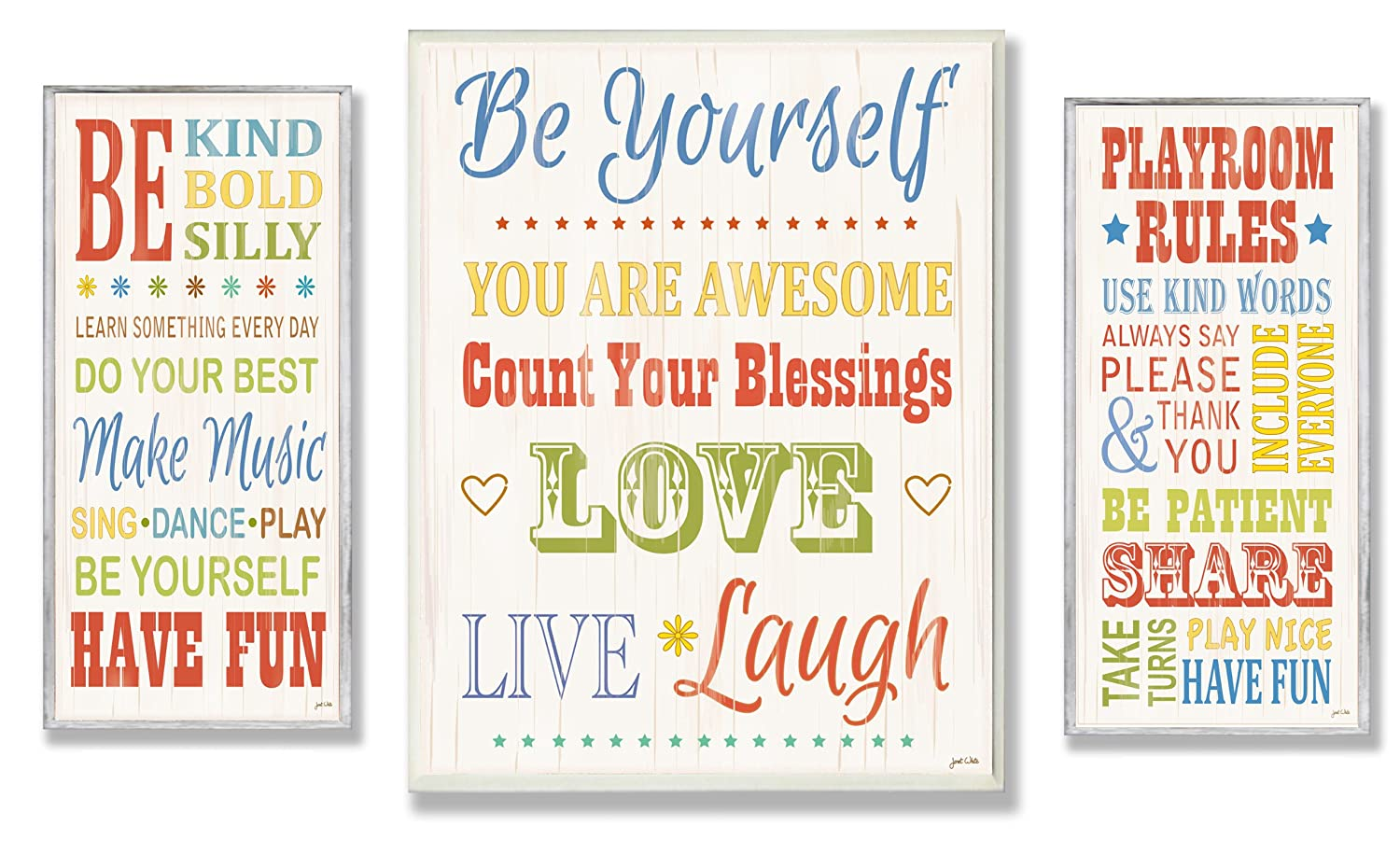 The Kids Room by Stupell Be Yourself; Be Kind; Playroom Rules 3-Pcs. Multi-Size Wall Plaque Set, n/a x n/a x n/a, Proudly Made in USA zrp-102