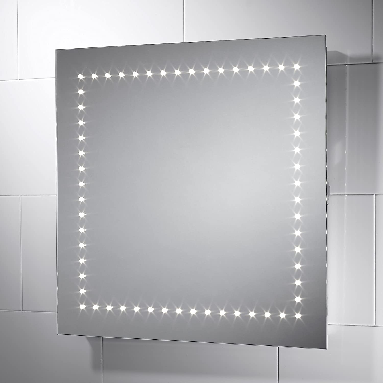 Pebble Grey Square Savio LED Illuminated Bathroom Mirror Size 600mmW X 600mmH With Infra Red Sensor Switch Dual Voltage Shaver Socket And Full