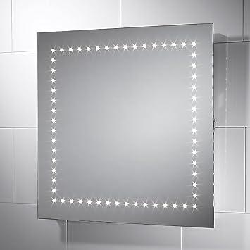 Pebble Grey Square Savio LED Illuminated Bathroom Mirror Size 600mmW X 600mm