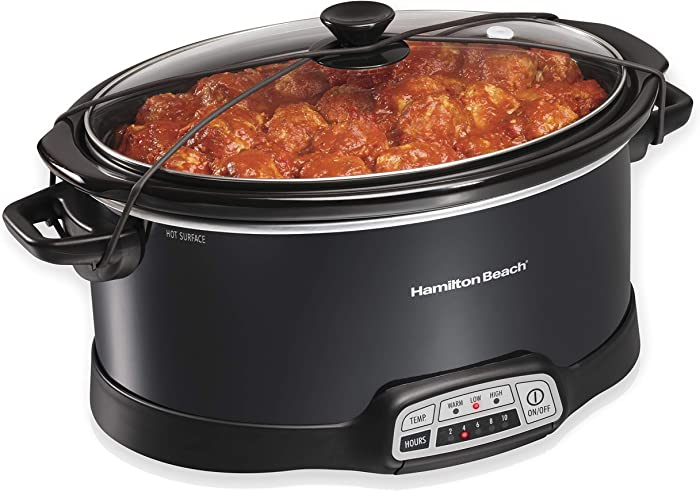 Hamilton Beach Portable 7-Quart Programmable Slow Cooker With Lid Latch Strap for Easy Transport, Dishwasher-Safe Crock, Black (33474)