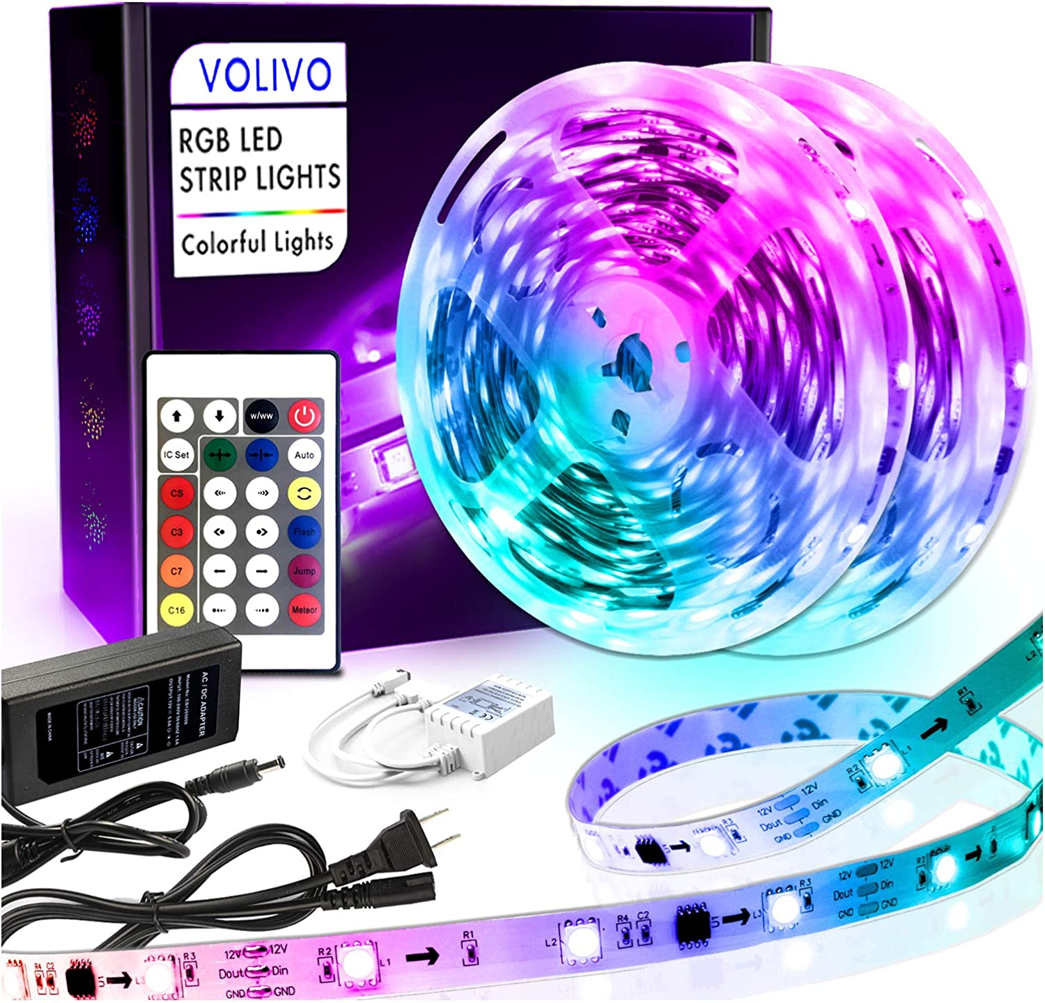 Volivo Rainbowcolor Led Strip Lights 32.8ft, 2 Rolls of 16.4ft 5050 Color Changing LED Lights for Bedroom, Room, Kitchen, Home, Party with 24 Key IR Remote…