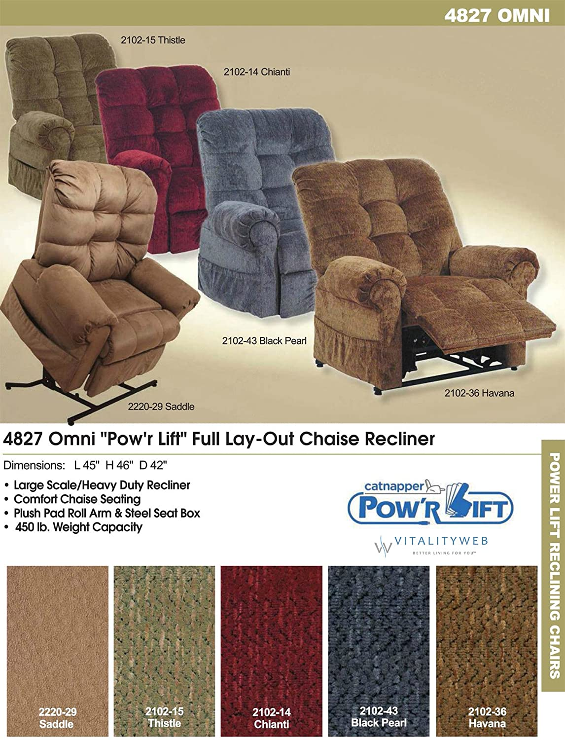 Phenomenal Catnapper Omni 4827 Power Full Lay Out Large Heavy Duty Lift Chair Recliner 450 Lb Capacity Ink Fabric With In Home Delivery And Setup Pabps2019 Chair Design Images Pabps2019Com