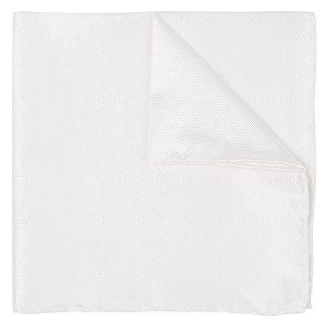 100/% Silk Twill White Pocket Square Signature Collection Gift Boxed by Puentes Denver