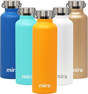 MIRA Alpine Stainless Steel Vacuum Insulated Water Bottle with 2 Lids, Sports Thermos Flask Keeps Cold 24 Hours, Hot 12 Hours, Reusable Hydro Bottle - 25 oz (750 ml) Pumpkin
