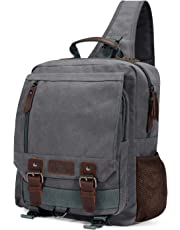 Plambag Canvas Sling Backpack One Strap Travel Sport Crossbody Bag Grey