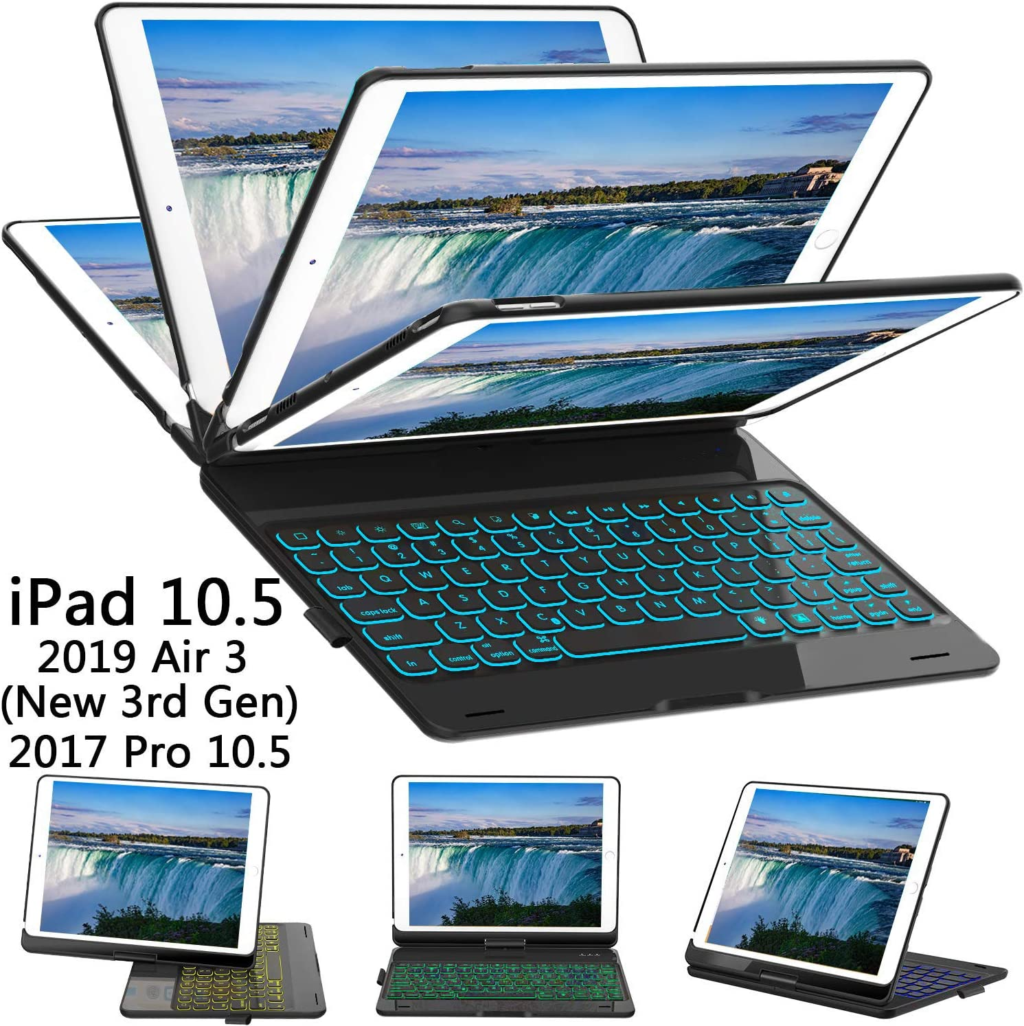 ILEBYGO iPad Pro 10.5 Keyboard Case with Pencil Holder for iPad Pro 10.5 inch 2017/iPad Air 10.5(3rd Gen) 2019, 360 Rotatable Wireless Bluetooth Backlit/Auto Sleep-Wake/Ultra-Thin Keyboard(Black)